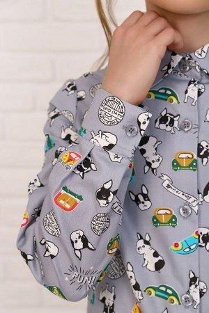 """Рубашка-блузка для девочки """"Бульдог на сером"""""""