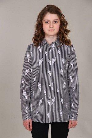 """Рубашка-блузка для девочки """"Коты/черная полоса"""""""