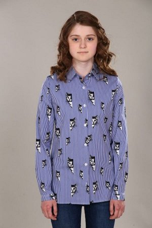 """Рубашка-блузка для девочки """"Коты/синяя полоса"""""""