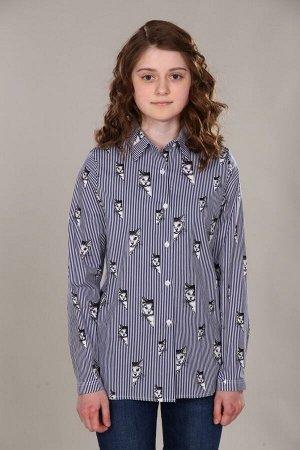 """Рубашка-блузка для девочки """"Коты/т.синяя полоса"""""""