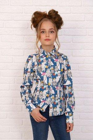 "Рубашка-блузка для девочки ""Медведи на синем"""