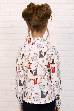 """Рубашка-блузка для девочки """"Лисы на белом"""""""