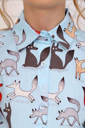 """Рубашка-блузка для девочки """"Лисы на голубом"""""""