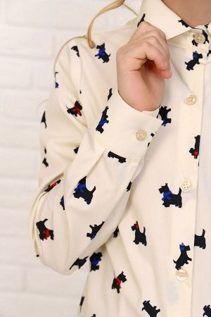 """Рубашка-блузка для девочки """"Терьерры"""""""