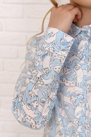 """Рубашка-блузка для девочки """"Коты на голубом """""""