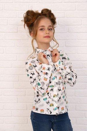 """Рубашка-блузка для девочки """"Бульдог на белом"""""""