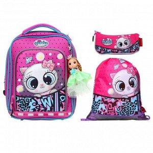Рюкзак каркасный Across HK 35*29*15 наполн:мешок,пенал,брел, дев, фиол HK2021-8