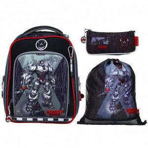 "Рюкзак каркасный Across HK 35*29*15 наполн:мешок,пенал,брел, мал ""Робот"", чёрн/красн"