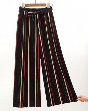 """Женские классические брюки, принт """"Красные и белые полосы"""", цвет черный"""