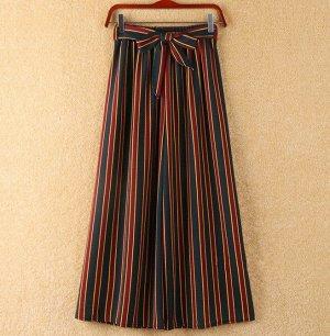 """Женские классические брюки, принт """"Красные полосы"""", цвет темно-синий"""