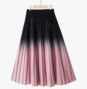 """Женская юбка, принт """"Градиент"""", цвет розовый/черный"""