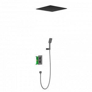 Душевая система Timo Petruma SX-5029/03SM, встроенная, термостат, тропический душ, черная