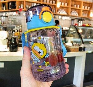 """Бутылочка для воды с ремешком, принт """"Утка"""", цвет фиолетовый/голубой"""