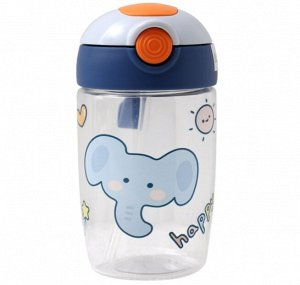 """Бутылочка для воды с трубочкой, принт """"Слон"""", цвет голубой"""