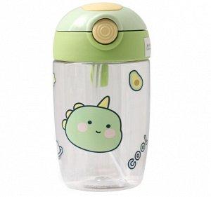 """Бутылочка для воды с трубочкой, принт """"Динозаврик"""", цвет зеленый"""