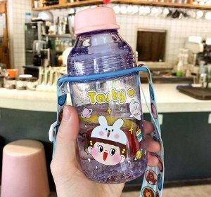 """Бутылочка для воды, принт """"Девочка"""", цвет фиолетовый"""