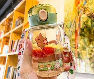 """Бутылочка для воды с ремешком, принт """"Мишка"""", цвет зеленый"""