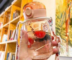 """Бутылочка для воды с ремешком, принт """"Девочка"""", цвет розовый"""