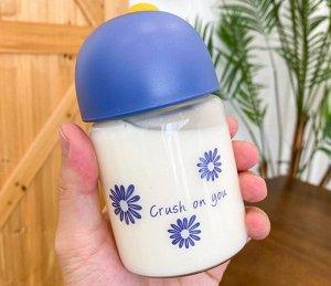 """Бутылочка для воды, принт """"Ромашки"""", цвет синий"""