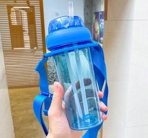 Бутылочка для воды с двумя трубочками, цвет синий