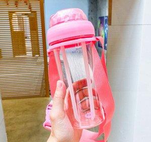 Бутылочка для воды с двумя трубочками, цвет розовый