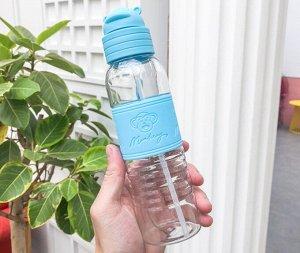 """Бутылочка для воды, принт """"Обезьянка"""", цвет голубой"""