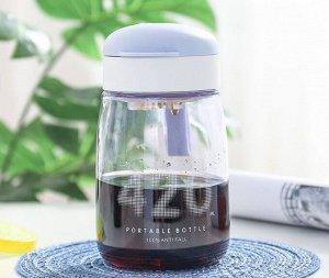 """Бутылочка для воды, надпись """"420"""", цвет серо-голубой"""