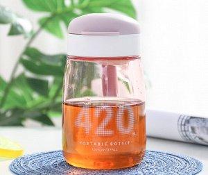 """Бутылочка для воды, надпись """"420"""", цвет розовый"""