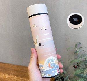 """Термос с датчиком температуры, принт в восточном стиле """"Журавли"""", цвет нежно-розовый"""