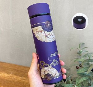 """Термос с датчиком температуры, принт в восточном стиле """"Веер"""", цвет фиолетовый"""