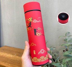 """Термос с датчиком температуры, принт в восточном стиле """"Цветы"""", цвет красный"""