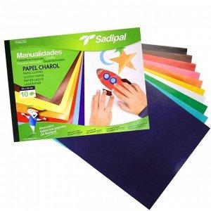 Набор бумаги глянцевой  80 г/м2, 10 листов 24*32 см, 10 цветов, Sadipal