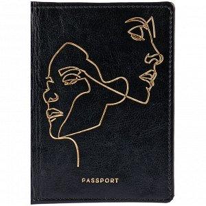 """Обложка для паспорта OfficeSpace """"Life line"""", кожзам гладкий, черный, тиснение фольгой"""