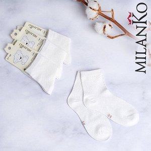 Детские носки бесшовные (сеточка белые) milanko