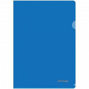 Папка-уголок Berlingo, А4, 180мкм, прозрачная синяя