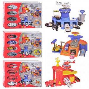 Набор игровой  полицейский участок/пожарная часть/автосервис + 4 машины, кор.