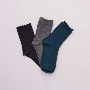 Комплект из 3 пар теплых носков - зеленый