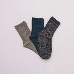 Комплект из 3 пар носков с отделкой блестящими нитями - зеленый