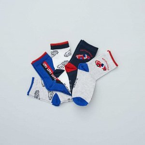 Комплект из 5 пар носков с рисунками - голубой