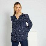 Блузка для беременных в цветочек - голубой