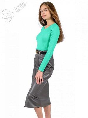 джемпер Джемпер женский с круглой горловиной и длинным рукавом. Выполнен из гладкокрашенной ткани. Состав ткани: 95% хлопок, 5% лайкра. Плотность — 160 г/м2