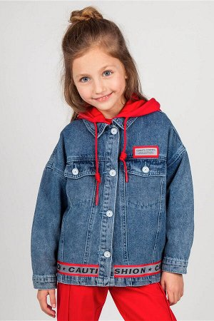 Куртка ДЕВ Страна: Китай Производитель: Deloras Материал: 100% хлопок Пол: ДЕВ Описание товара: Джинсовый жакет из 100% хлопка для девочки. Модель имеет яркий трикотажный съемный капюшон. Куртка засте