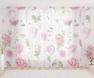 Фототюль Ассорти из розовых цветочков