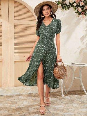 Цветочное платье с пуговицами