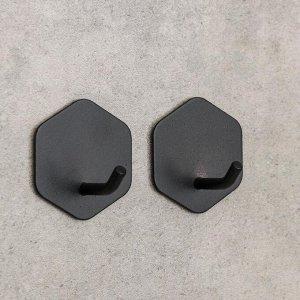Набор крючков на липучке «Классика. Шестиугольник», 2 шт, металл, цвет чёрный