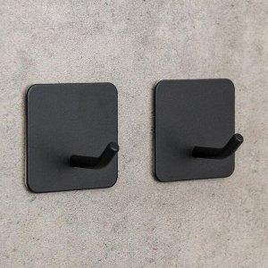 Набор крючков на липучке «Классика. Квадрат», 2 шт, металл, цвет чёрный