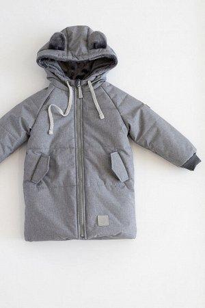 Пальто зима Мишка серебро