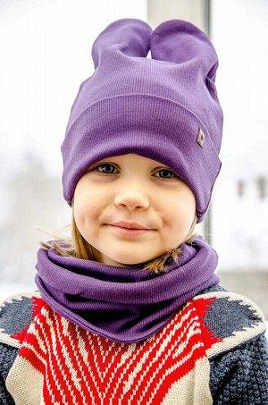 Шапка+снуд Ушки фиолет