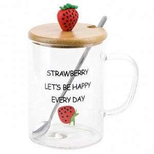 """Кружка стеклянная с крышкой и ложкой """"Strawberry"""" v=450мл. (4вида) (подарочная упаковка)"""