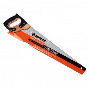 ЕРМАК Ножовка по дереву 500мм с деревянной обрезиненной ручкой, универсальный зуб, 4 мм